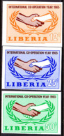 Liberia (1965) Cooperation Year. Set Of 3 Imperforates.  Scott Nos 426-8, Yvert Nos 406-8. - Liberia