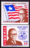 Liberia (1965) President Tubman's Birthday. Set Of 2 Imperforates.  Scott Nos 431,C169.  Yvert Nos 406,PA149. - Liberia