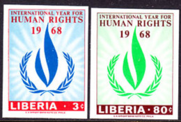 Liberia (1968) Human Rights Torch. Set Of 2 Imperforates.  Scott Nos 478-9, Yvert Nos 455-6. - Liberia