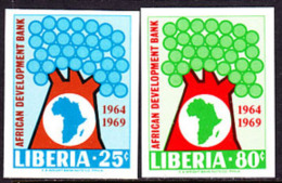 Liberia (1969) African Development Bank. Set Of 2 Imperforates.  Scott Nos 497-8, Yvert Nos 473-4. - Liberia