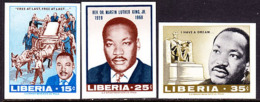 Liberia (1968) M L King Memorial. Set Of 3 Imperforates.  Scott Nos 480-2, Yvert Nos 457-9. - Liberia