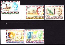 Upper Volta (1977) Nobel Winners Lagerlof, Marconi, Russell, Pauling, Koch. Set Of 5 Imperforates.  Scott Nos 440-4, Yve - Upper Volta (1958-1984)