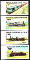 Upper Volta (1984) Trains. Set Of 4 Imperforates.  Scott Nos 662,664,666,668.  Yvert Nos 624-7. - Trains