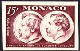 Monaco (1951) Edmond & Jules De Goncourt. Imperforate.   Scott No 261, Yvert No 352. 150th Anniversary Of Académie G - Monaco