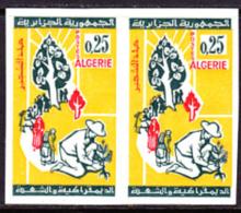 Algeria (1964) Planting Trees. Imperforate Pair.  Scott No 334, Yvert No 403. - Algeria (1962-...)
