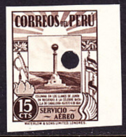 Peru (1938) Monument At Junin. Imperforate Specimen With Control Punch.  Yvert No PA50, Scott No C50. - Peru