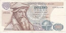 BILLETE DE BELGICA DE 1000 FRANCOS DEL 11-09-1975 DE MERCATOR  (BANKNOTE) - 1000 Francs