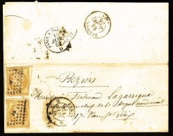 LETTRE CLASSIQUE FRANCE- 2 TIMBRES ND EMPIRE N° 13- 10 Ct BISTRE-ORANGE- LOSANGE H + CAD 1521 DE 1858- 2 SCANS - Poststempel (Briefe)
