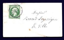 LETTRE CARTE DE VISITE CLASSIQUE FRANCE- TIMBRE EMPIRE 5 Ct VERT VIF N°12- OBLIT. CAD TYPE 15 VILLE DE PROVINCE 1863- - Marcophilie (Lettres)