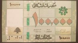 Lebanon 100000 Livres, LBP Lebanese Pounds, Dated 2017, Issued 2018, UNC - Lebanon