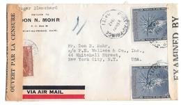 Haiti Dual Censor 1942 Airmail Cover Port Au Prince To US Examiner 1925 Sc 330 339 - Haiti