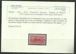 ITALIA REGNO ITALY KINGDOM 1943 1944 REPUBBLICA SOCIALE RSI TIRATURA DI BRESCIA ESPRESSO GNR LIRE 2,50 MNH CERTIFICATO - 4. 1944-45 Repubblica Sociale