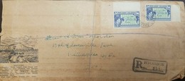 O) 1940 PITCAIRN ISLANDS, MAP PITCAIRN AND PACIFIC OCEAN-SCOTT A5 3P BLUE, REGISTERED TO PHILADELPHIA, XF - Stamps