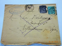 ENVELOPPE TIMBREE 1890 MOIRANS VILLEURBANNE RETOUR A L'ENVOYEUR GROS NOTAIRE - 1876-1898 Sage (Type II)