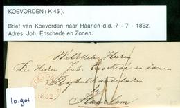 HANDGESCHREVEN BRIEF Uit 1862 Gelopen Van KOEVORDEN Naar HAARLEM (10.901) - Periode 1852-1890 (Willem III)