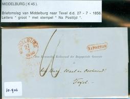 BRIEFOMSLAG Uit 1856 Gelopen Van MIDDELBURG Aan De BURGEMEESTER Te  TEXEL * Stempel : NA POSTTIJD (16.898) - Periode 1852-1890 (Willem III)