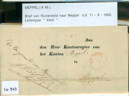 GESCHREVEN BRIEF Uit 1860 Gelopen Van De BURGEMEESTER Te RUINERWOLD Aan De KANTONRECHTER Te MEPPEL (10.903) - Periode 1852-1890 (Willem III)
