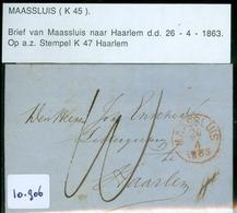 HANDGESCHREVEN BRIEF Uit 1856 Gelopen Van MAASSLUIS Naar HAARLEM  (10.906) - Periode 1852-1890 (Willem III)