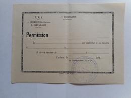 Bulletin De Permission FFI 1 Regiment Haute Garonne.resistance .maquis.luchon - Collezioni