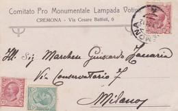 CARTOLINA - POSTCARD - CREMONA - PUBBLICITARIA - COMITATO PRO MONUMENTALE LAMPADA VOTIVA - Cremona