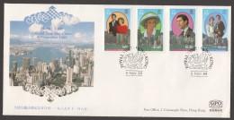 1989 - Charles And Diana Visit To Hong Kong Complete Set On FDC - Hong Kong (...-1997)