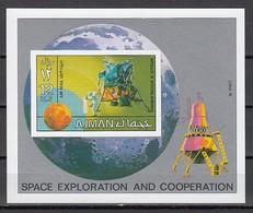 AJMAN, MICHEL CAT. #1222, BL322 B,  SPACE RESEARCH S/SHEET. LUNAR MODULE SHOWN. - Space