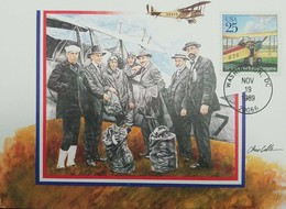 L) 1989 USA, AIRPLANE, 20TH UNIVERSAL POSTAL CONGRESS, PEOPLE, REUBEN H. FLEET, AVIATION, MAXIMUM CARD, XF - Maximum Cards