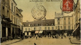 77 LA FERTE-GAUCHER - Place Montesquiou - Belle Carte Toilée Couleur - Animée - La Ferte Gaucher
