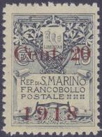 SAN MARINO 1918 Stemma 20c Su 15c Gomma Integra Fresco Molto Bello, MNH** - Nuevos