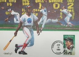 L) 1989 USA, SPORT, LOU GEHRIG, BEISBOLIST, BASEBALL BAT, MAXIMUM CARD - Maximumkarten (MC)