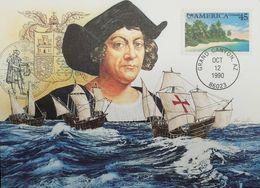 L) 1990 USA, PALM, NATURE, BEACH, AMERICA, PUAS, CHRISTOPHER COLUMBUS, BOAT, MAXIMUM CARD, XF - Maximum Cards