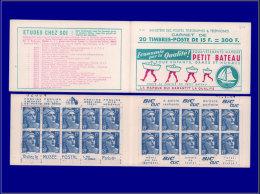 FRANCE Carnets (N° Cérès) Yvert:270,(S. 12), Type I: 15f. Bleu Gandon      - Qualité: XX . Cote: 230 - Carnets