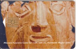 PERU - Máscara Funeraria Costa Sur 1100-1600 DC, Telefonica Telecard, Chip GEM2.3, Tirage %15000, 09/95, Used - Peru
