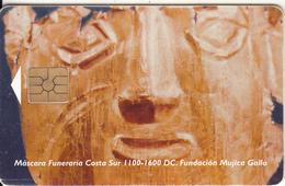 PERU - Máscara Funeraria Costa Sur 1100-1600 DC, Telefonica Telecard, Chip GEM2.1, Tirage %15000, 09/95, Used - Peru