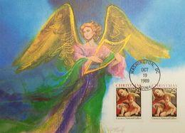 L) 1989 USA, CHRISTMAS, ANGEL, CARRACCI, NATIONAL GALLERY, FULL COLORS, MAXIMUM CARD, XF - Maximum Cards