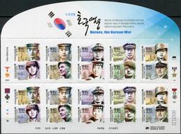 Korea South. 2015. Heroes, The Korean War (MNH OG **) Miniature Sheet - Korea, South
