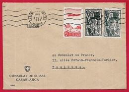1947 Lettre CASABLANCA Maroc Par Consulat De Suisse à Destination De 31 TOULOUSE Affranchissement Composé - Marokko (1891-1956)