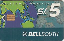 PERU - Globe, BellSouth Telecard, Chip Siemens 37, Tirage 40000, 12/00, Used - Peru