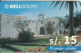 PERU - Mansion Del Fundador, BellSouth Prepaid Card S/.15(plastic), Used - Peru