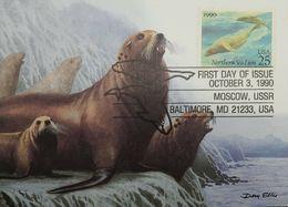 L) 1990 USA, FAUNA, NORTHEN SEA LION, ICE, 25, NATURE, MAXIMUM CARD - Maximumkarten (MC)