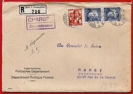 1933 Lettre Recommandée SUISSE Déposée à BERN 3 Par Département Politique Fédéral Pour Consulat à 54 NANCY - Storia Postale