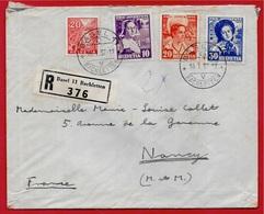1937 Lettre Recommandée SUISSE Déposée à BASEL Pour 54 NANCY - Affranchissement Composé Avec Pro Juventute 1936 - Storia Postale
