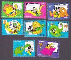 Uganda, Scott #1174-1181, Mint Hinged, Mickey Mouse, Issued 1993 - Uganda (1962-...)
