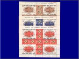 CUBA  Yvert:535/49, Série Complète De 3 Feuillets De 25 Composites, Numérotés: Noël 60/61, Fleurs Et Musique      - Qual - Cuba