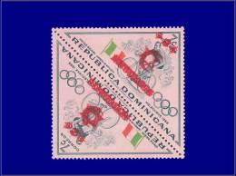 DOMINICAINE Poste Aérienne Yvert:124/127, Se Tenant, Double Surcharge: Jeux Olympiques De Melbourne, Cycle, Réfugiés     - Dominican Republic