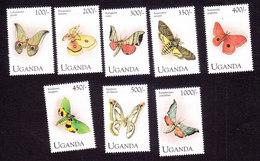 Uganda, Scott #1220-1229, Mint Hinged, Butterflies, Issued 1994 - Uganda (1962-...)