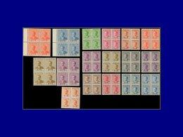 IRAK  Yvert:Michel 201/8 + 208 A/I, (non émis), Complet 17 Valeurs En Blocs De 4: Faisal II      - Qualité: XX . Cote: 3 - Iraq