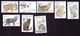 Uganda, Scott #1242-1249, Mint Hinged, Cats, Issued 1994 - Uganda (1962-...)
