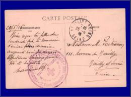 """Croix Rouge  Yvert:France, Cp. 25/6/15, Cac. Violet """"""""Ouevres Des Trais De Blessés-Wagon Cantine""""""""      - Qualité:  . Co - Red Cross"""