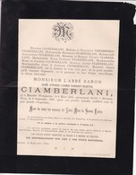 MUNSTER BEVEREN Abbé Baron Aloïs CIAMBERLANI Munster 1816 - Beveren-Waas 1890 VERSMESSEN - Obituary Notices